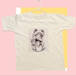 Cute Sailor Moon Sketch Graphic T-shirt-XL